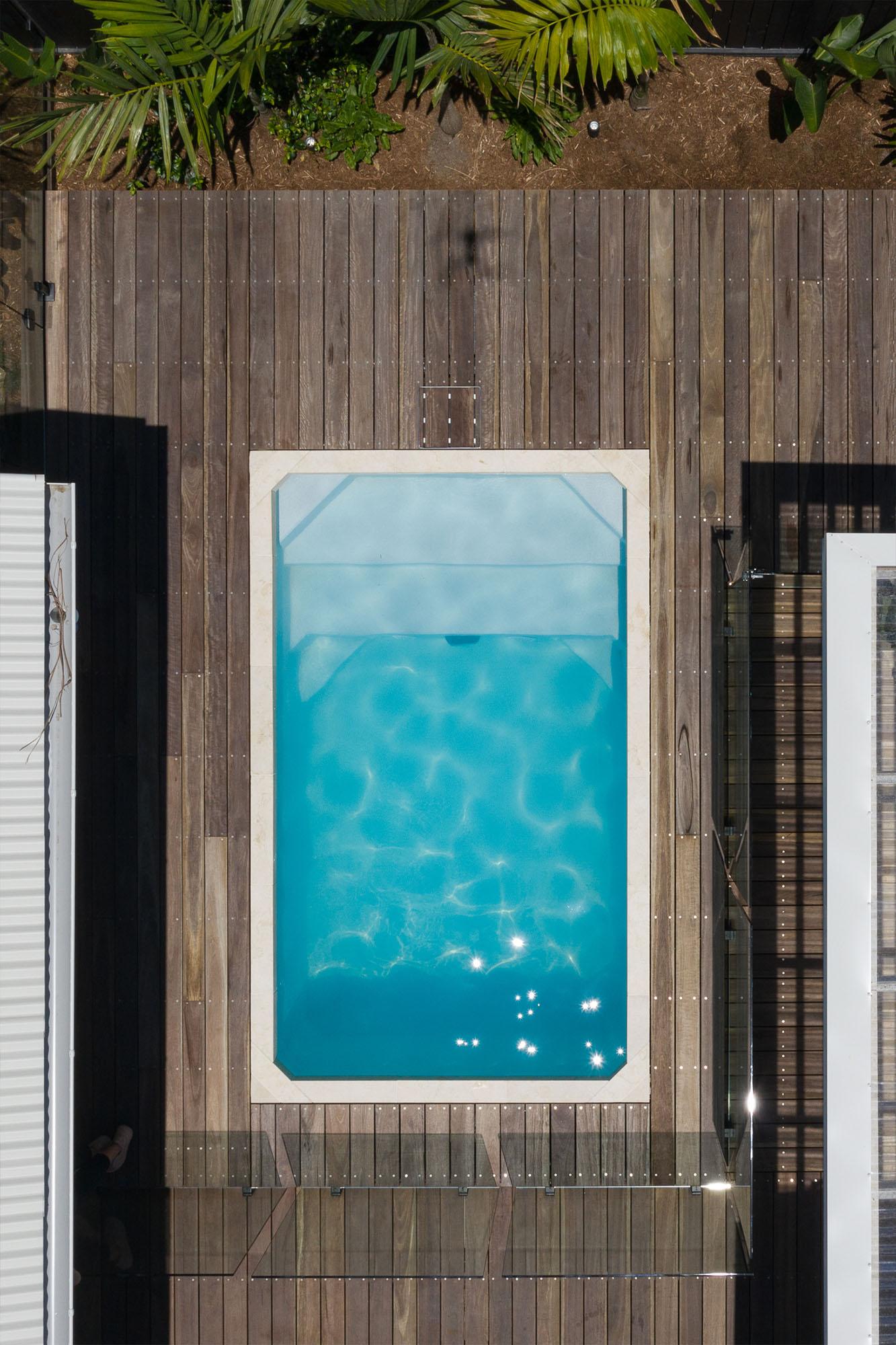 Aerial shot of 12ft x 7ft Plungie Studio Concrete Plunge Pool in Kona Coast